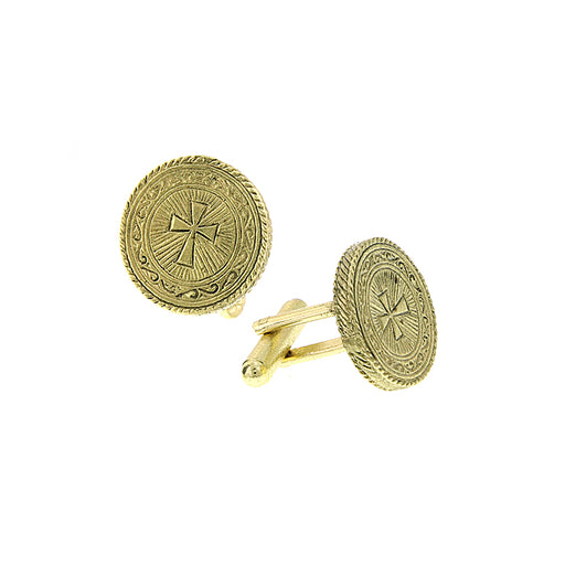 14K Gold-Dipped Cross Round Cuff Links