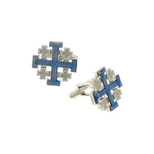 Silver-Tone Blue Enamel Jerusalem Cross Cuff Links