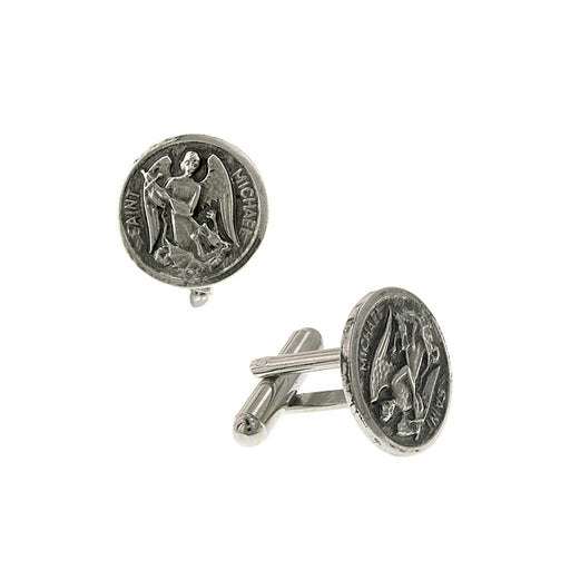 Silver-Tone Saint Michael Round Cuff Links