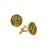 14K Gold-Dipped Saint Michael Round Cuff Links