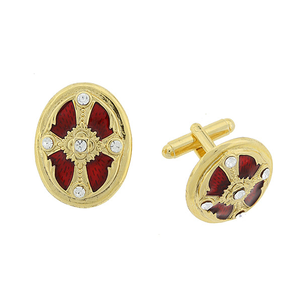 14K Gold-Dipped Crystal Red Enamel Oval Cross Cuff Links