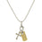 Silver-Tone Chain and 14K Gold-Dipped Love Bar and Cross Charm Necklace