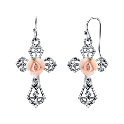 Silver-Tone Pink Porcelain Rose Cross Earrings