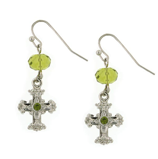 Silver-Tone Green Crystal Cross Drop Earrings