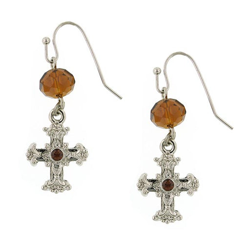 Silver-Tone Brown Crystal Cross Drop Earrings