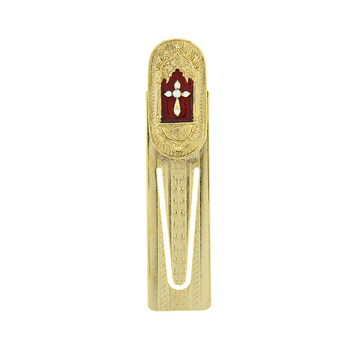 14K Gold-Dipped Red Enamel with Crystal Accent Cross Bookmark