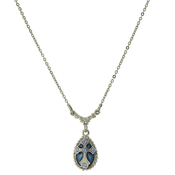 Silver-Tone Blue Crystal and Enamel Cross Pendant Necklace