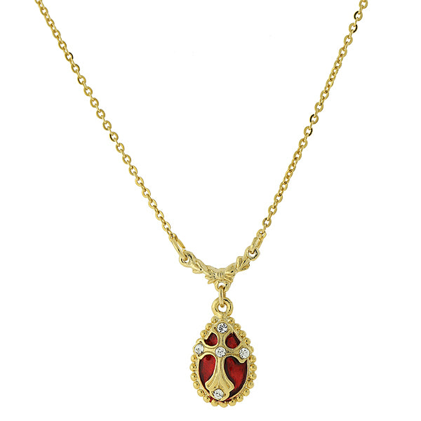 14K Gold-Dipped Crystal Red Enamel Cross Pendant Necklace
