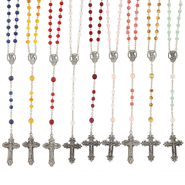 12pc Silver-Tone Assorted Colors Crucifix Rosary in a Box