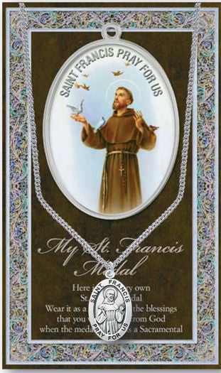 St Francis Picture Folder With Medal And Chain