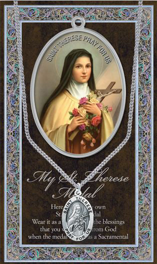 Saint Therese Medal Picture Folder With Medal On Chain
