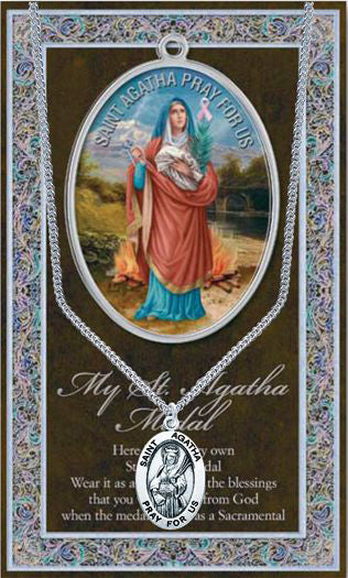 St Agatha Picture Folder With Medal And Chain
