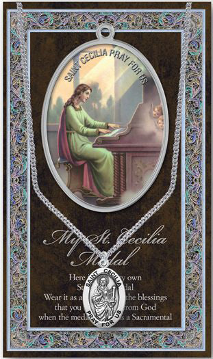 Saint Cecilia Medal Picture Folder With Medal On Chain