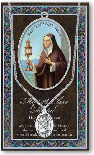 St Clare Picture Folder With Medal And Chain