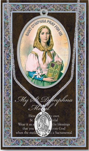 Saint Dymphna Medal Picture Folder With Medal On Chain