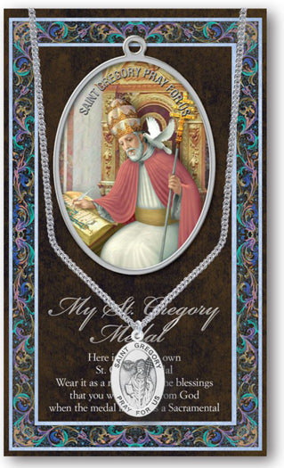 St Gregory The Great Picture with Medal And Chain