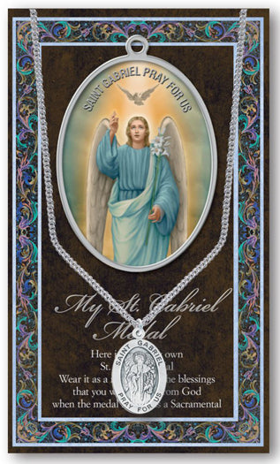 Saint Gabriel Medal Picture Folder With Medal On Chain
