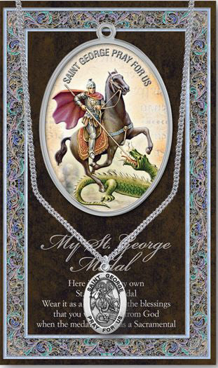 Saint George Medal Picture Folder With Medal On Chain