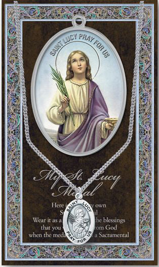 Saint Lucy Medal Picture Folder With Medal On Chain