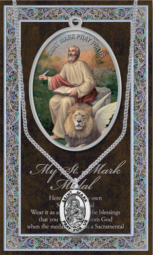 Saint Mark Medal Picture Folder With Medal On Chain