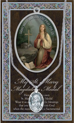 Saint Mary Magdalene Med Pic Folder With Medal On Chain