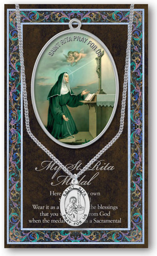 Saint Rita Medal Picture Folder With Medal On Chain