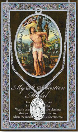 St Sebastian Picture Folder With Medal and Chain