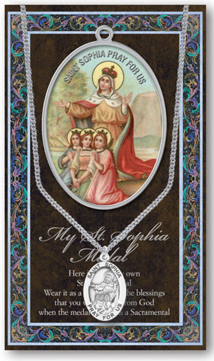 Saint Sophia Medal Picture Folder With Medal On Chain
