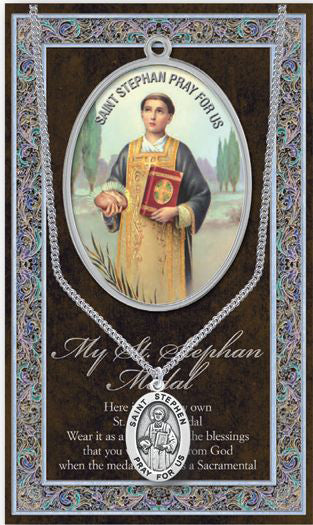 Saint Stephen Medal Picture Folder With Medal On Chain