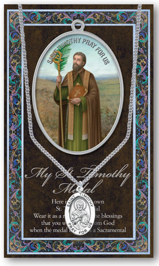 Saint Timothy Medal Picture Folder With Medal On Chain