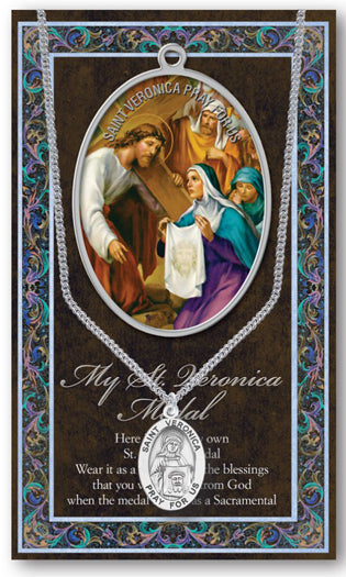 Saint Veronica Medal Picture Folder With Medal On Chain