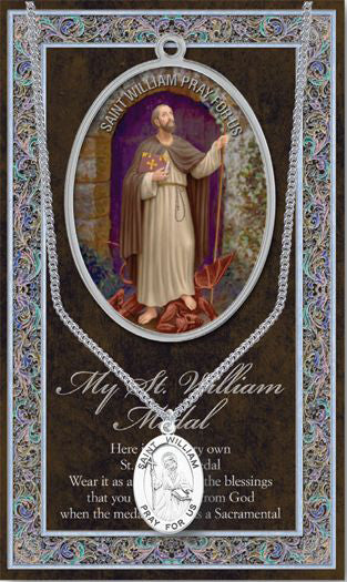 Saint William Medal Picture Folder With Medal On Chain