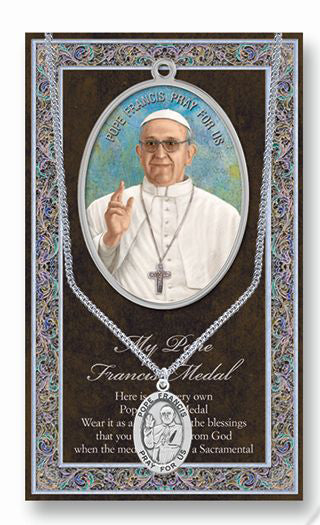 Pope Francis Picture Folder With Medal And Chain