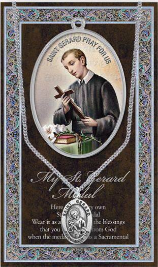 Saint Gerard Medal Picture Folder With Medal On Chain