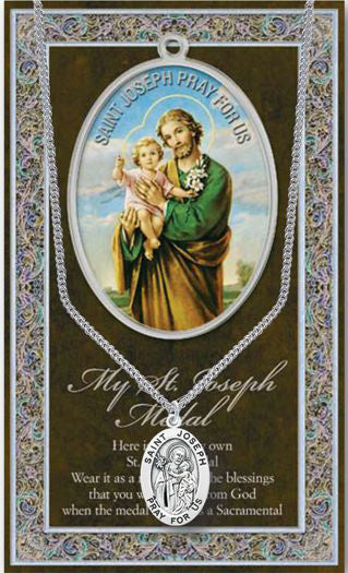 St Joseph Picture Folder With Medal And Chain
