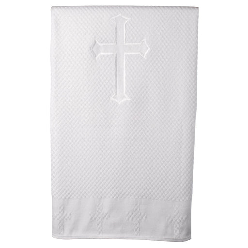 Baptism Acrylic blanket with embroidered cross in center and around border