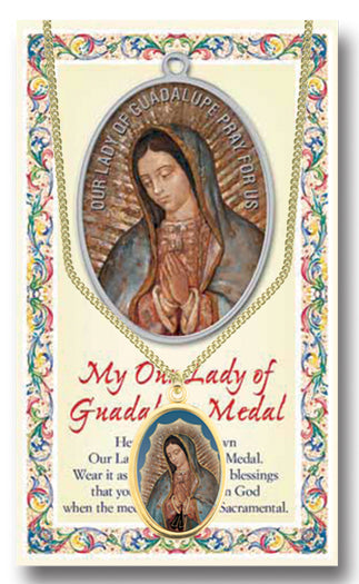 Ol Guadalupe Enameled Patron Saint Medal Chained/Carded