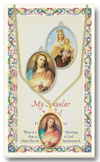 Scapular Enameled Patron Saint Medal Chained/Carded