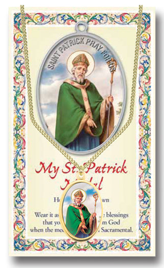 Saint Patrick Enameled Patron Saint Medal Chained/Carded