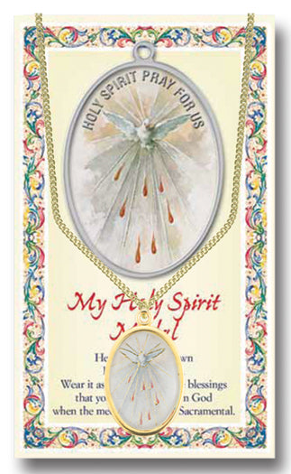Holy Spirit Enameled Medal Chained/Carded