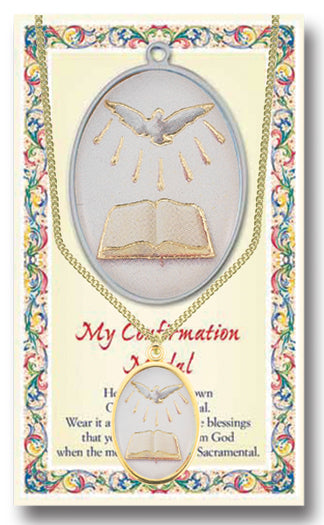 Confirmation Enameled Medal Chained/Carded
