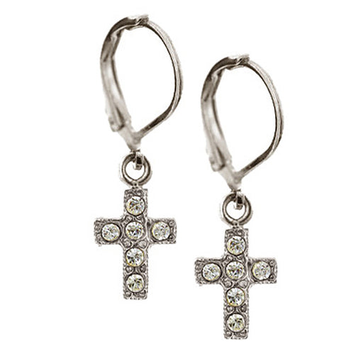 Silver-Tone Crystal AB Cross Drop Earrings