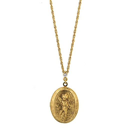 14K Gold-Dipped Oval Angel Locket Necklace