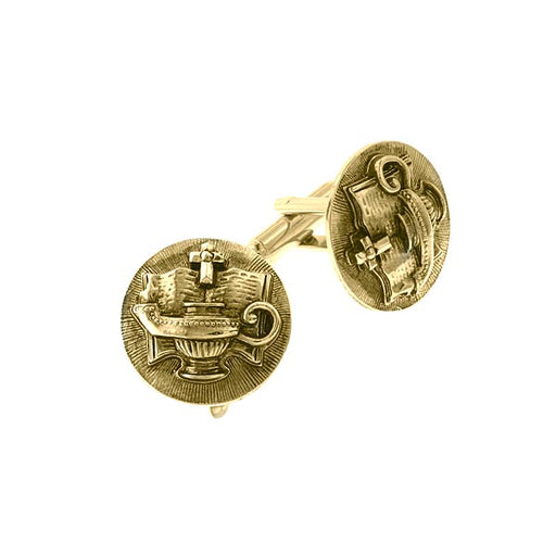 Gold-Tone Light Unto My Path Round Cuff Links