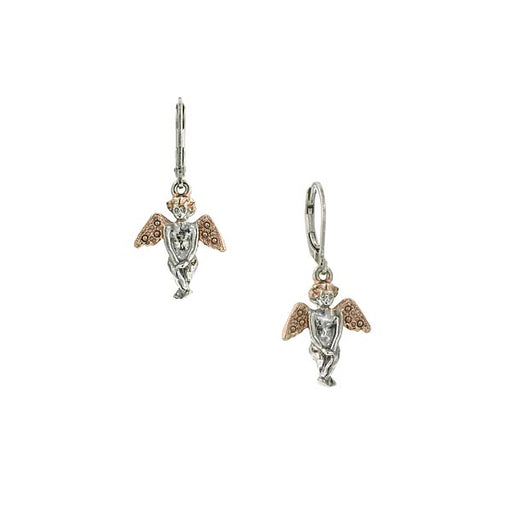 Rose Gold-Tone and Silver-Tone Angel Drop Earrings