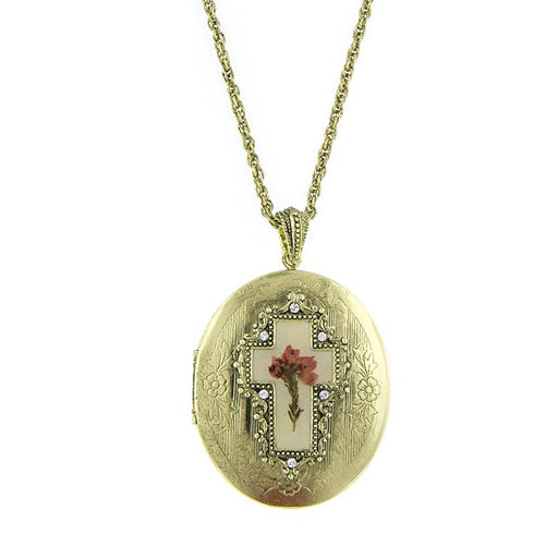 Gold-Tone Cross Flower Oval Locket Necklace
