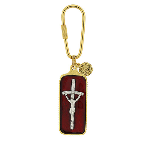 Gold and Silver-Tone Red Enamel Papal Crucifix Key Fob