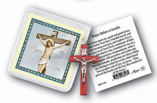 Crucifix Rosary Ring And Prayer Card 10-Pack