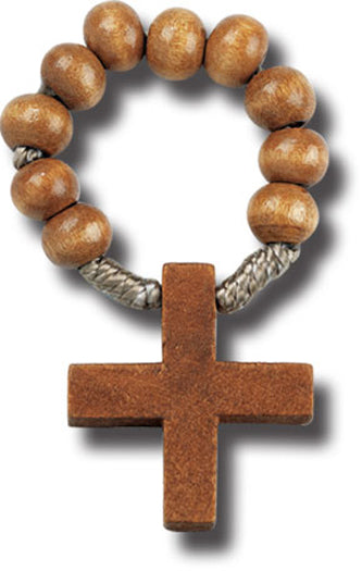 Light Brown Wood Rosary Ring 25-Pack