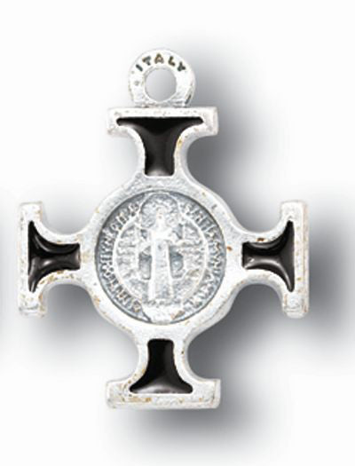 10-Pack - Silver/Brown Saint Benedict Cross